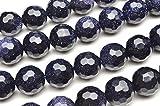 【 福縁閣 】ブルーゴールドストーン 128面カット 8mm 1連(約38cm)_R5133-8天然石 パワーストーン ビーズ