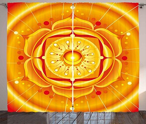 """Lotusカーテンby Ambesonne、チャクラMandala円形JourneyエネルギッシュボディZen Life Symbol Healing Artsyイメージ、リビングルームベッドルームウィンドウドレープ2パネルセット、オレンジイエロー 108"""" W By 108"""" L p_35477_108x108"""
