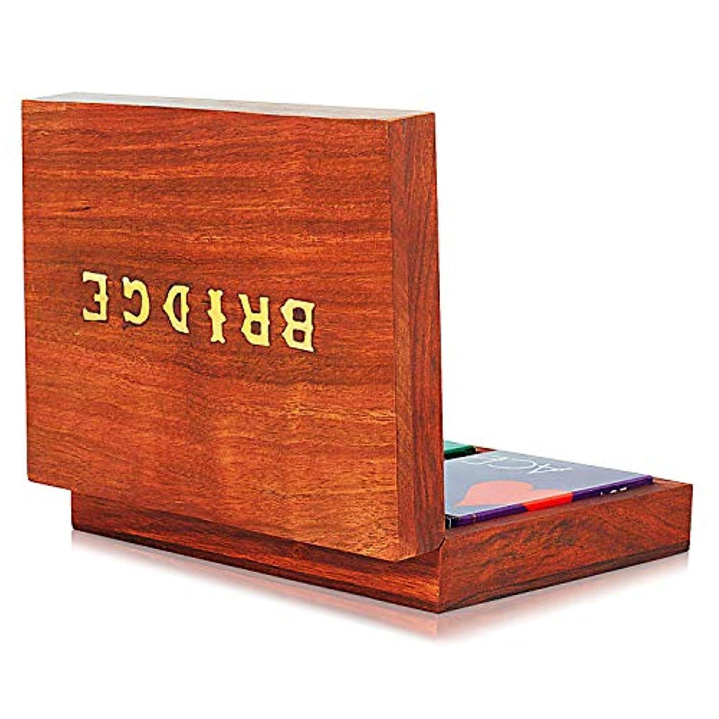 累計石膏アクセシブルThe Great Indian Bazaar 手作り木製ブリッジトランプ ホルダー デッキボックス 収納ケース オーガナイザー 2セット 高品質 「Ace」トランプ 記念日 新築祝い ギフト 彼氏 彼女