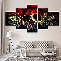 壁画5枚キャンバスプリントホラー人間の頭蓋骨リビングルームの寝室の家の装飾壁の芸術(フレームなし)、20X35Cmx2 20X45Cmx2 20X55Cmx1