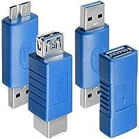 4種 USB 3.0 アダプター AFUNTA USB 3.0 Type-A メス - メス 、 オス - オス 、 タイプA メス - メス と マイクロB オス - タイプ A オス , 高変換速度 延長カプラ コネクタ