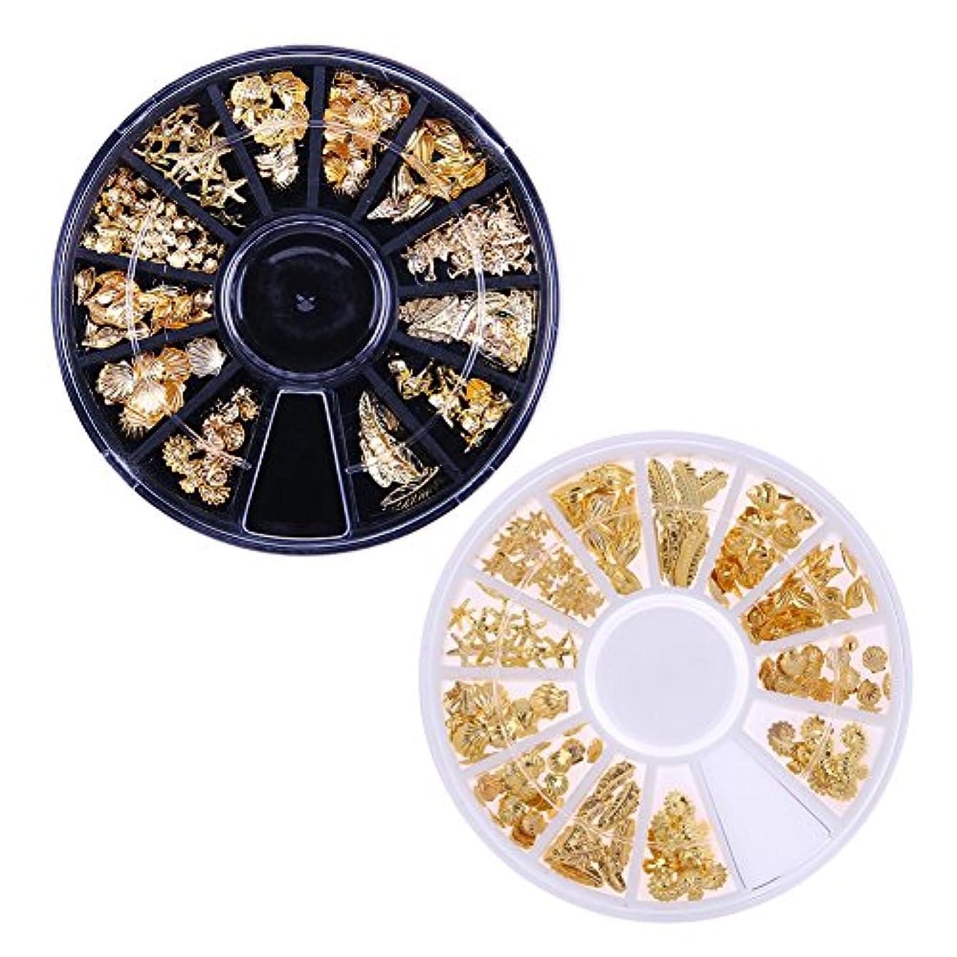 Demiawaking 3D ネイルパーツ メタル ゴールド 海テーマ(貝殻/海馬/海星など) 12種形 ネイルデコレーション ラウンドケース入リ 2ケース