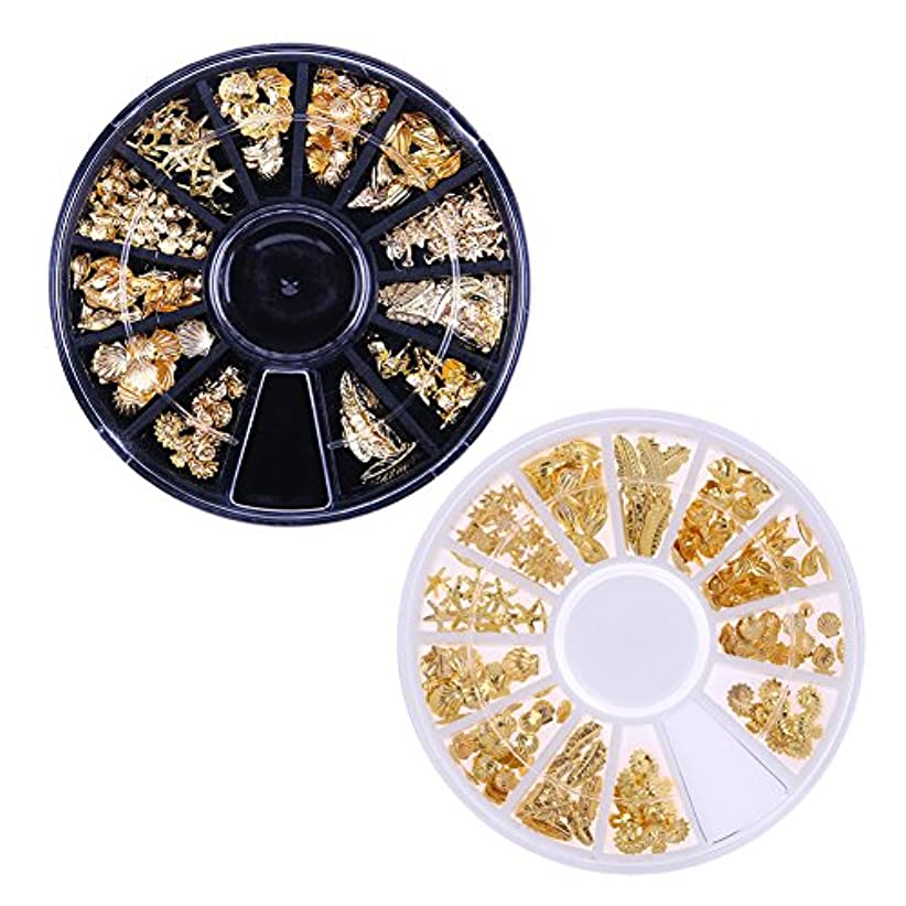 歌返還湿原Demiawaking 3D ネイルパーツ メタル ゴールド 海テーマ(貝殻/海馬/海星など) 12種形 ネイルデコレーション ラウンドケース入リ 2ケース