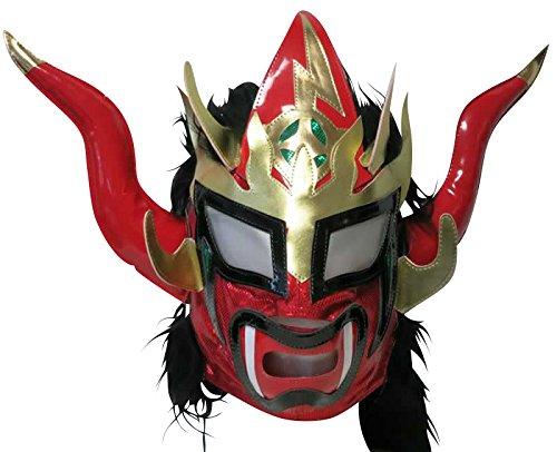 【プロレス マスク】獣神サンダー・ライガー レプリカマスク 髪付 レッド×髪ブラック ルチャリブレ プロレス