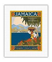 ジャマイカ - 熱帯の宝石 - 美しく健康で手軽 - スチームシップ・ラインのチケットは全てここから - ビンテージな世界旅行のポスター によって作成された CKS c.1910 - キャンバスアート - 28cm x 36cm キャンバスアート(ロール)