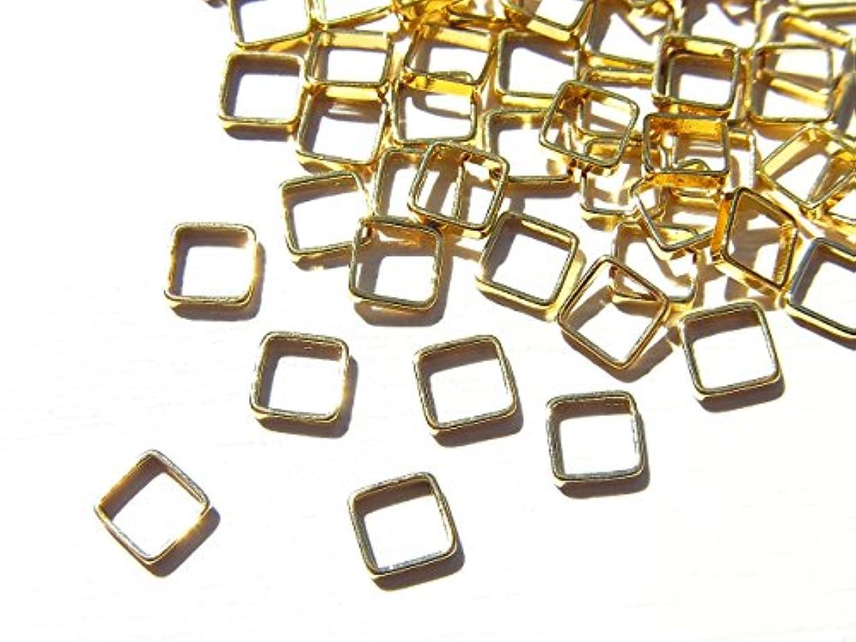 ファン追加する丈夫【jewel】ゴールド 立体メタルパーツ 10個入り スクエア 型 (正方形) 直径4mm 厚み1mm 手芸 材料 レジン ネイルアート パーツ 素材