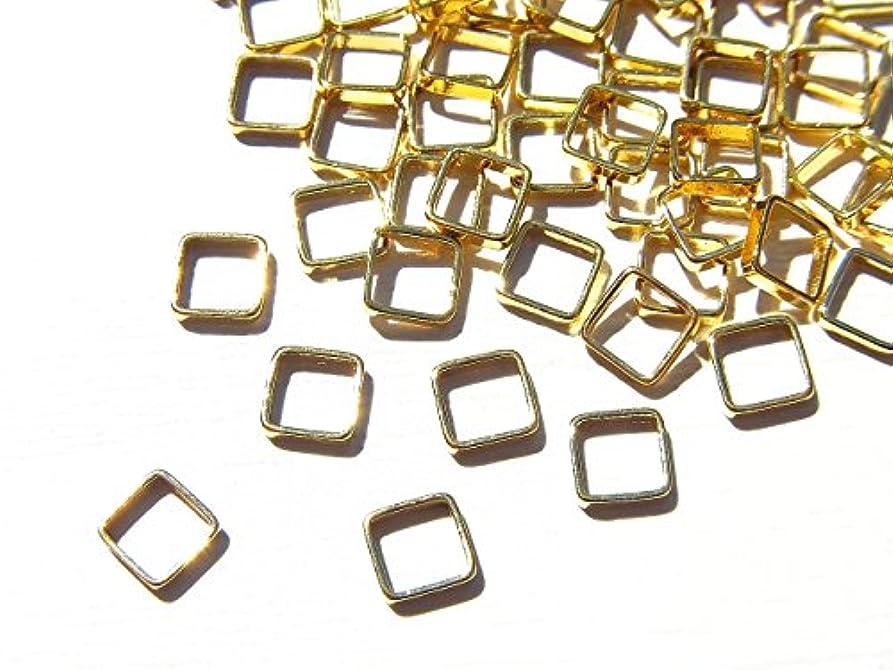 リール名誉ある会う【jewel】ゴールド 立体メタルパーツ 10個入り スクエア 型 (正方形) 直径4mm 厚み1mm 手芸 材料 レジン ネイルアート パーツ 素材