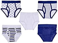 Trimfit Big Boys' 100 Percent Cotton Tagless Assorted Briefs 5-Pack (Navy/White M) [並行輸入品]