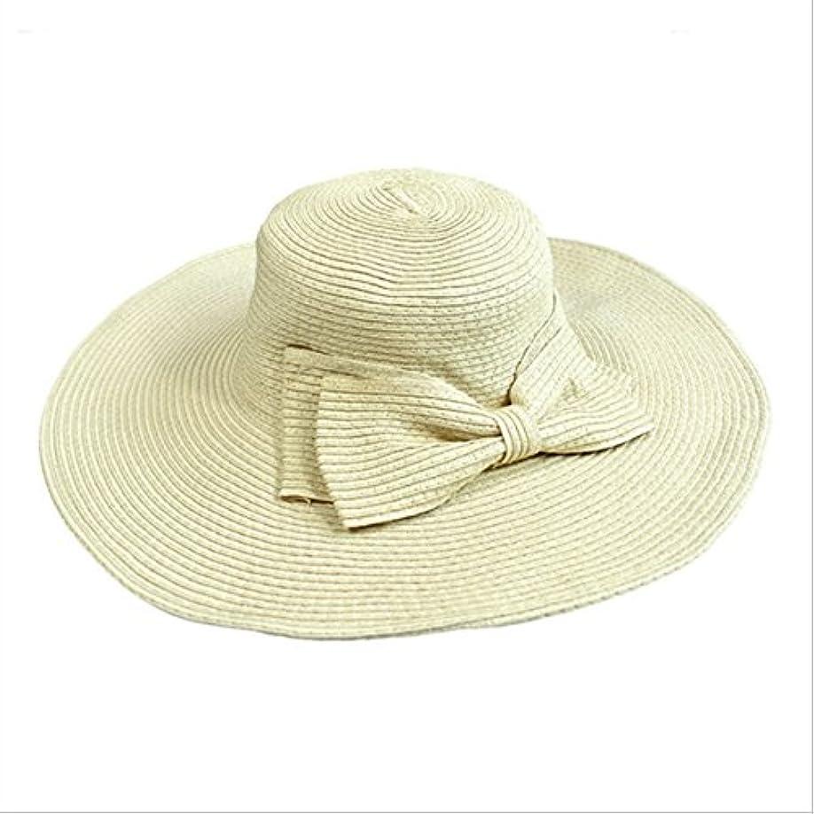 寸法を必要としています深さUnke折りたたみ式蝶結びリボンFloppy麦わらサンハットレディースワイドつばビーチサンバイザー帽子キャップ
