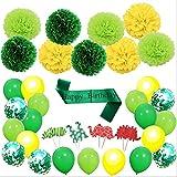 Cozyswan パーティー用デコレーション 恐竜テーマ55点セット バナー 風船 紙花 ストライプ ケーキトッパー 緑 楽しい 雰囲気 盛り上がる お誕生日 パーティー おもしろい DIY