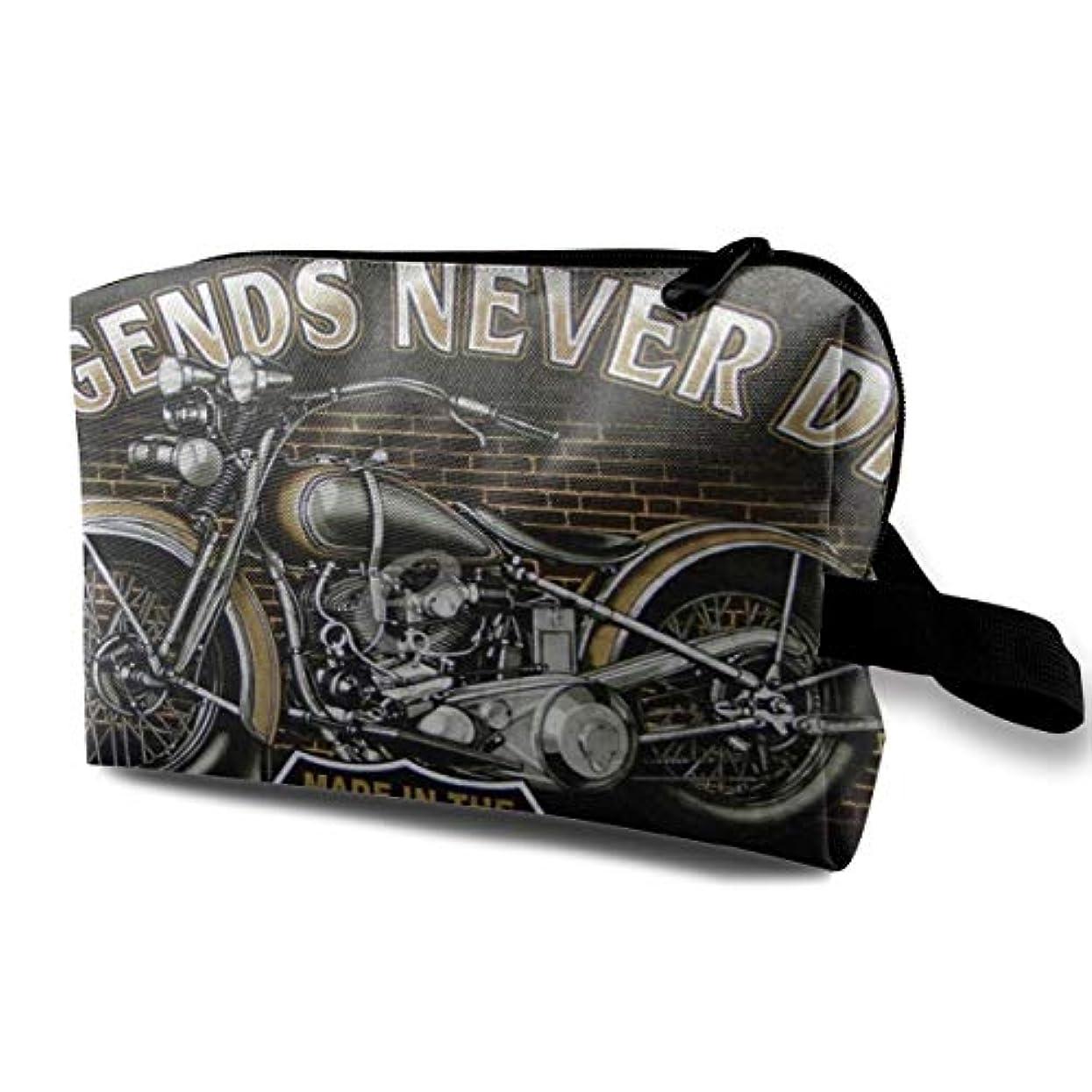 ありそう保険みぞれRetro Style Motorcycle 収納ポーチ 化粧ポーチ 大容量 軽量 耐久性 ハンドル付持ち運び便利。入れ 自宅?出張?旅行?アウトドア撮影などに対応。メンズ レディース トラベルグッズ