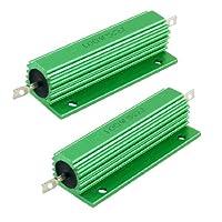 uxcell ハイフラ防止器 巻線型抵抗器 グリーン 100W 5Ohm 良好なパフォーマンス 2個入り …