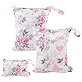 ALVABABY 3pcs Baby Cloth Diaper Wet Dry Bags Waterproof Reusable with Two Pockets Travel Beach Pool Daycare Soiled Baby Items Yoga Gym Bag for Swimsuits or Wet Clothes 3L-H066