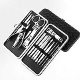 マニキュアペディキュアセット爪切り-17 ピースステンレススチールマニキュアキット-女性のための爪完璧なギフトのためのツール、男性はポータブルトラベルケース付きキューティクルリムーバーを含みます (ブラック、シルバー),...