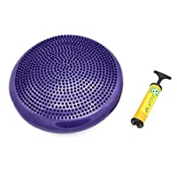 (Purple) - SAHE PRODUCTS Inflatable Twist Massage Balance Board - Wobble Cushion, Balance Workout Disc - Twist Massage, Fitness and Exercise - Pump Included,