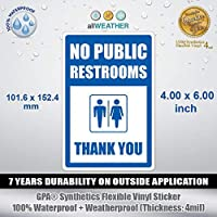 No Public Restrooms Thank You - Vinyl Sticker Wall Door Window Restroom Store Sign [並行輸入品]