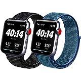 ATUP コンパチブル Apple Watch バンド 42mm 38mm 44mm 40mm、ナイロンスポーツループバンド、交換用ナイロン アップルウォッチリストバンド iWatch Series 5/4/3/2/1ベルトに対応 (11 黒い砂+ディープフォググレー, 42mm/44mm)
