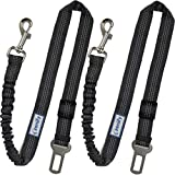 Zenify Dog Car Seat Belt Extendable Leash (2 Pack) - Bungee Lead for Dogs Puppies - Pet Adjustable Elastic Seatbelt Harness Vehicle Safety Birthday Road Trip Gift Idea (Grey)