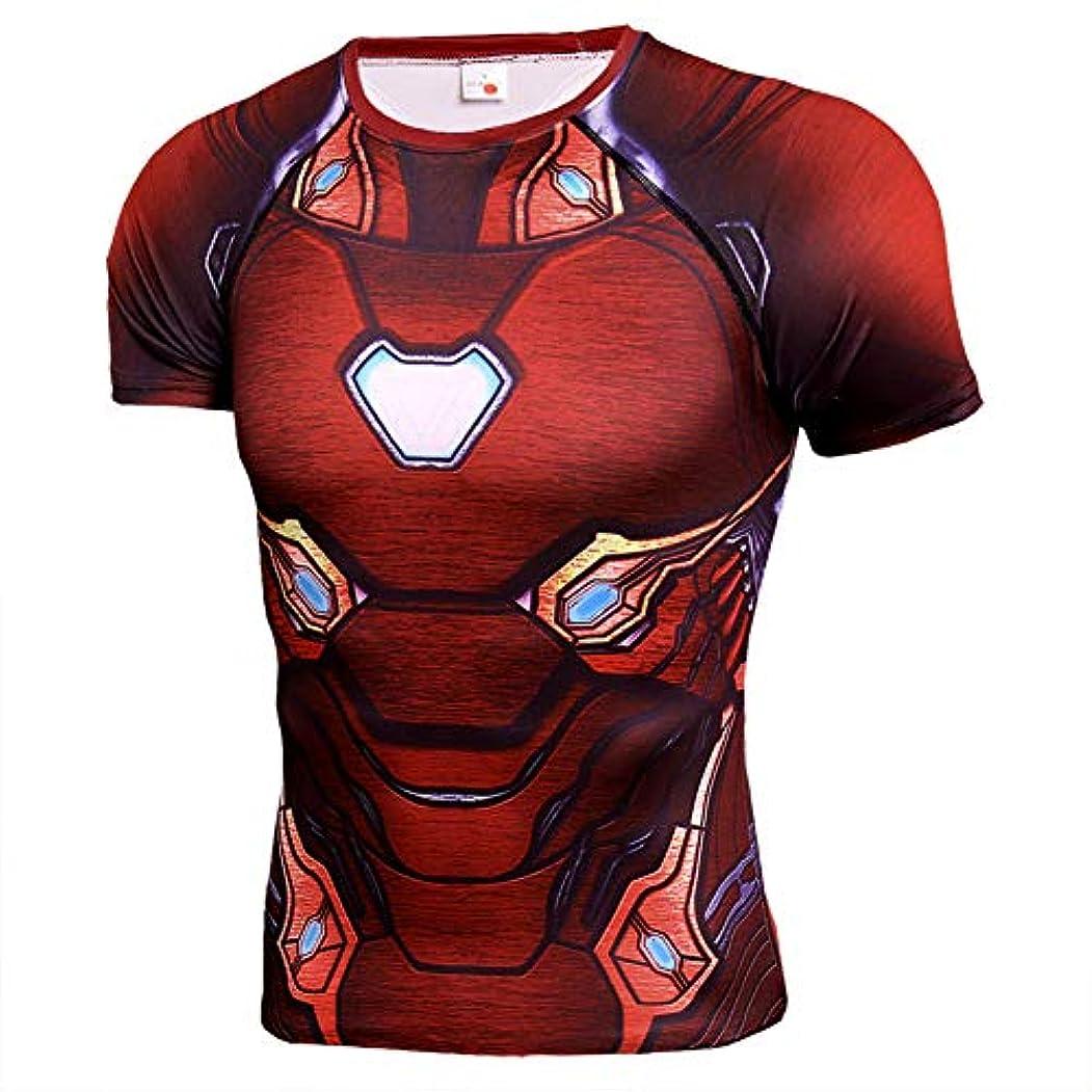 通路イタリック桃メンズフィットネス Tシャツ半袖 Hero Spider Manジムスパイダーマン吸汗速乾 コンプレッションウェア パワーストレッチ アンダーウェア