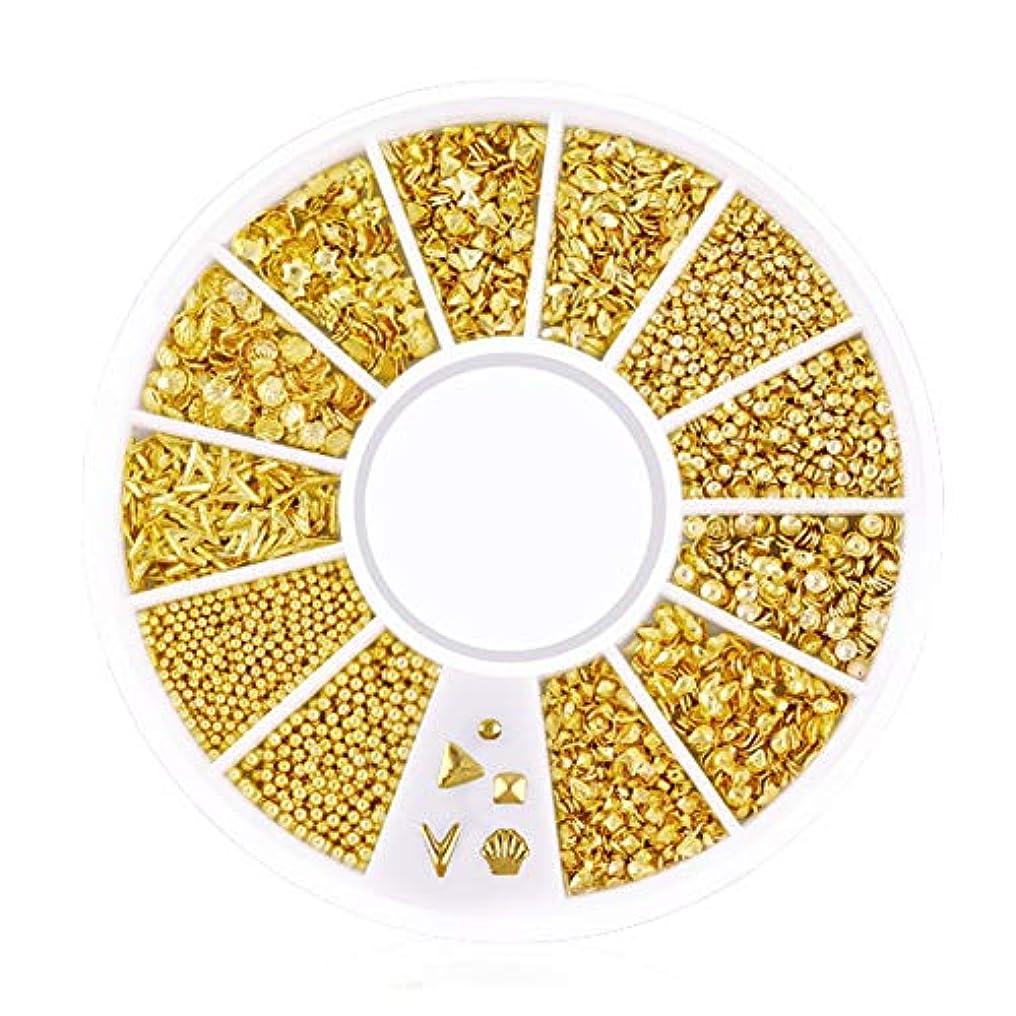 交通植物学クランシーSnner 3D ネイルパーツ メタル ゴールド ハート 星 月 花 蝶結び 幾何風 12種形 ネイルデコレーション 円型ケース入リ ピンクケース 200点セット (幾何風)