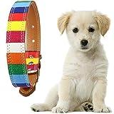 Demiawaking 中小犬用首輪 バックル カラフル 帆布+レザー  (S)