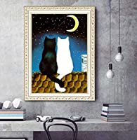 Xiyuyuan 新しいアニメ猫ヨーロッパクロスステッチポイントダイヤモンド刺繍の5Dダイヤモンド絵画フル