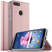 Huawei Nova Lite 2 ケース KuGi Huawei Nova Lite 2 カバー スタンド機能付き HUAWEI Enjoy 7S / HUAWEI P smart / HUAWEI nova lite 2 手帳型ケース 横開き 耐衝撃 PUレザー カバー スマートフォンケース Huawei Nova Lite 2 携帯全面保護カバー 本体の傷つきガード ローズゴールド