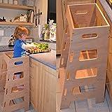 Kitchen Helper Tower Kids Toddler Montessori Step Stool Adjustable Height Plywood