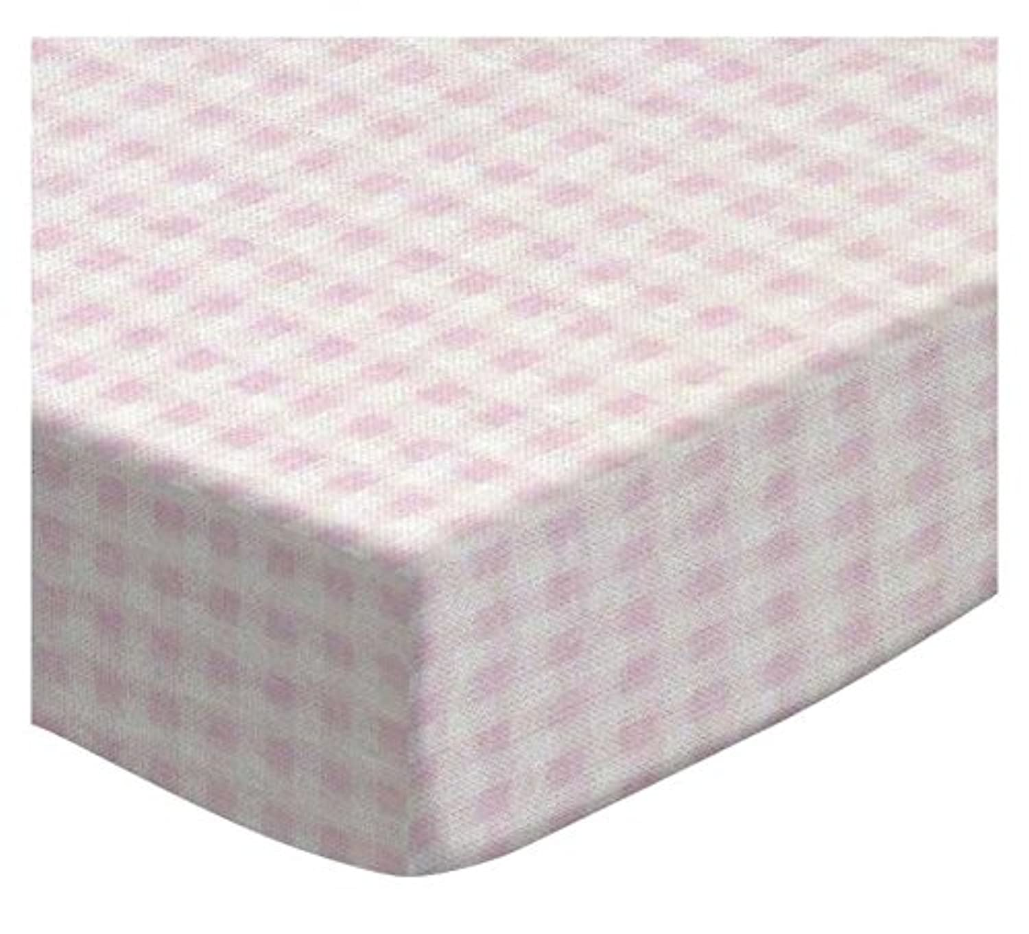 SheetWorld Fitted Square Playard Sheet 37.5 x 37.5 (Fits Joovy) - Pink Gingham Jersey Knit - Made In USA by sheetworld