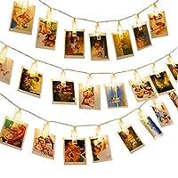 LEDストリングライト 40クリップ 5M 写真飾り 写真クリップ LEDイルミネーションライト 電池駆動式 飾りライト インテリア 装飾 誕生日/クリスマス/祝日/パーティー(ウォームホワイト)