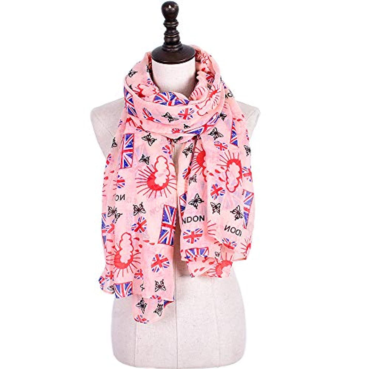 危機指フィードXZP ファッションクラシック英国の旗プリントスカーフVoileクラウド飛行機のスカーフ女性のための暖かい休日の外出