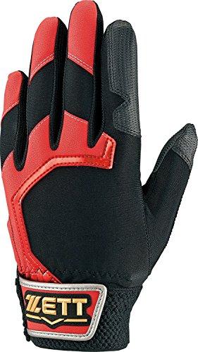 ZETT(ゼット) 少年野球 バッティンググローブ・守備用手袋 兼用 グランドメイト BG117J (左手用) レッド/ブラック フリーサイズ