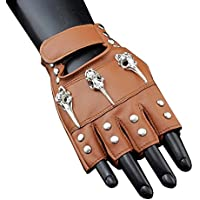 Women Lady's steampunk Rivets Studded Fingerless Gloves Cosplay Dancing