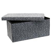 Wrightjp 収納スツール ベンチ 折りたたみ スツールボックス オットマン 耐荷重300kg 収納ボックス ストレージチェア 綿麻製