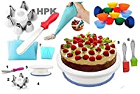 hpk 111 pcs Cake Decoration Plastic Tool Set Includes 100 Icing Bags and Stand with Turn Table and Lots More Tools
