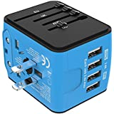 Jollyfit International Universal Travel Adapter USB Charger AC Power Wall Plug US UK AU EU Worldwide 150 Countries with Safe Fuse for Europe Asia Germany France Italy India China Russia American British European Adapter (4 USB, Blue)