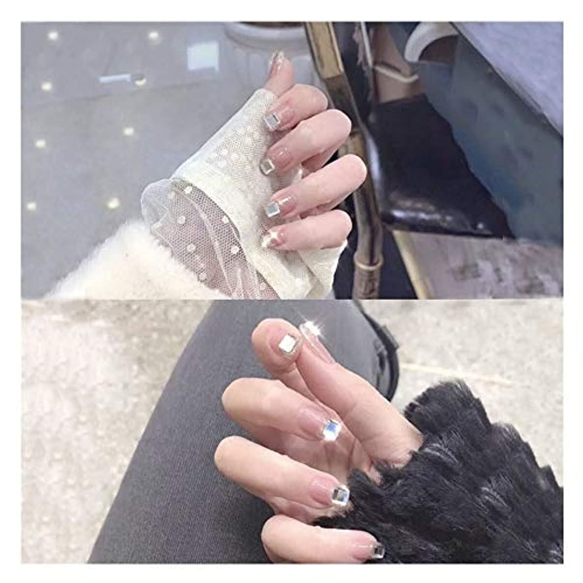 苦難幸運な戦いBOBIDYEE スクエアラインストーン接着剤偽の釘を持つ長方形ネイルズヌードピンクのかわいいファッションジュエリー仕上げネイル偽の釘 (色 : 24 pieces)
