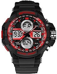 SANDA プラスチック バンド デジタル 腕時計 アナデジ表示 多機能 カレンダー 防水 LED クォーツ スポーツ ウォッチ (レッド)