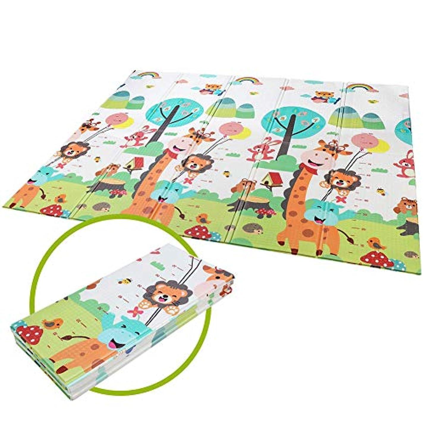 静めるカーフここに赤ちゃんは折りたたみ特大リバーシブル下敷きをクロール赤ちゃん用マット、折り畳み式の無臭クロール無毒XPE泡プレイマット,180*150*1cm