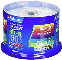 Verbatim バーベイタム 1回録畫用 ブルーレイディスク BD-R 25GB  50枚 ホワイトプリンタブル 片面1層 1-6倍速 VBR130RP50V4