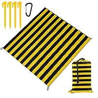 黄色と黒のストライプ ピクニックマット 屋外の 防水 パッド 折りたたみ式 レジャーマット レジャーシート 厚手 ビーチマット 持ち運び便利 キャンプマット 大判 150X145cm