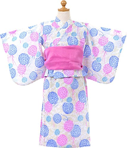 女の子 あじさい柄 浴衣ドレス ふわふわ帯2本セット【726-261】150cm パープル