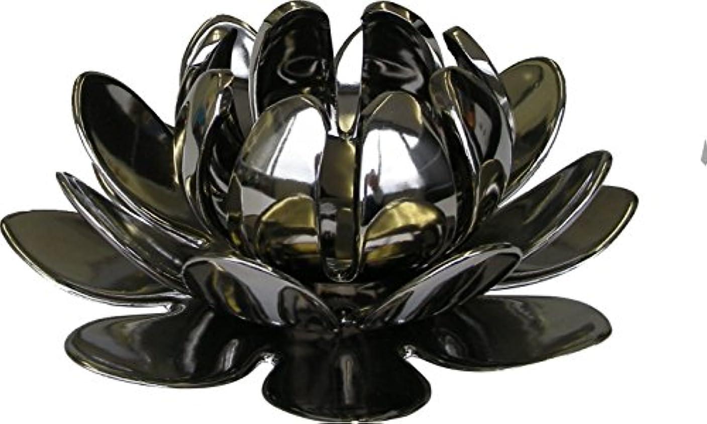 マルエス 燭台 陶器製三連 ロータス 大 シルバー