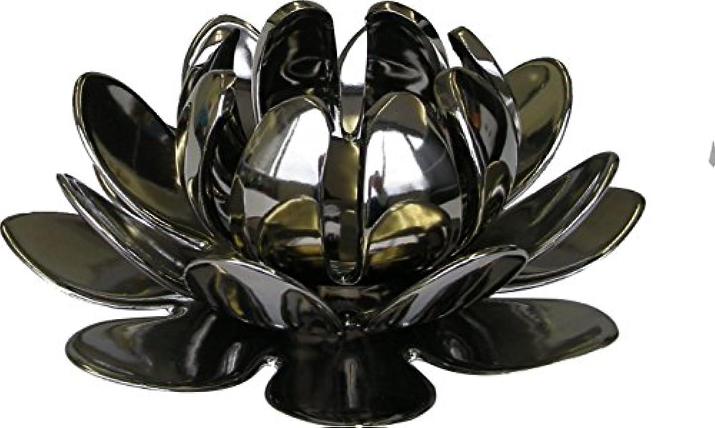 魅力的報告書事業内容マルエス 燭台 陶器製三連 ロータス 大 シルバー