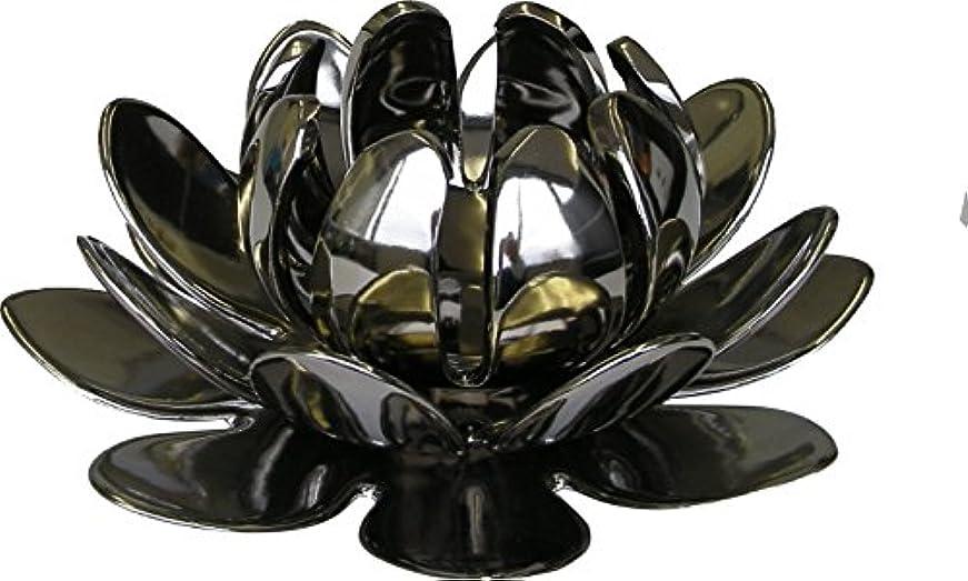 ホスト可愛い検査官マルエス 燭台 陶器製三連 ロータス 大 シルバー
