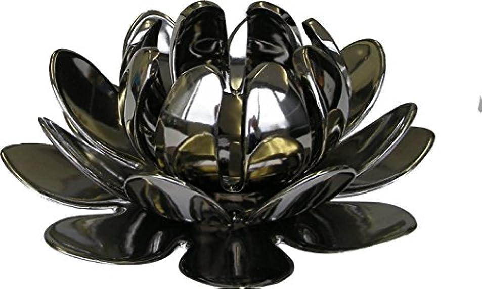 お互いアトム蒸マルエス 燭台 陶器製三連 ロータス 大 シルバー