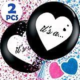 Aparty4u 2個入り 大きな性別発表バルーン ピンクとブルーのハート型紙吹雪パック ベビーシャワーパーティー装飾 男の子または女の子の赤ちゃん用 性別発表パーティー用品