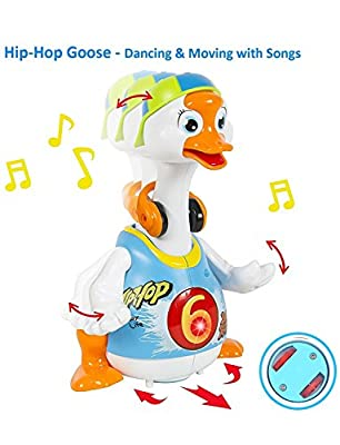 Konig Kids Dancing Goose Hip Hop Style Music and Light Learning Toy for Baby Toddler 18 Months + (Blue)