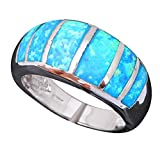 NEROYスタイリッシュなブルーFire作成されたオパールリング925シルバースターリング、Vintange結婚指輪ファッションジュエリーサイズ6.57.5or513a