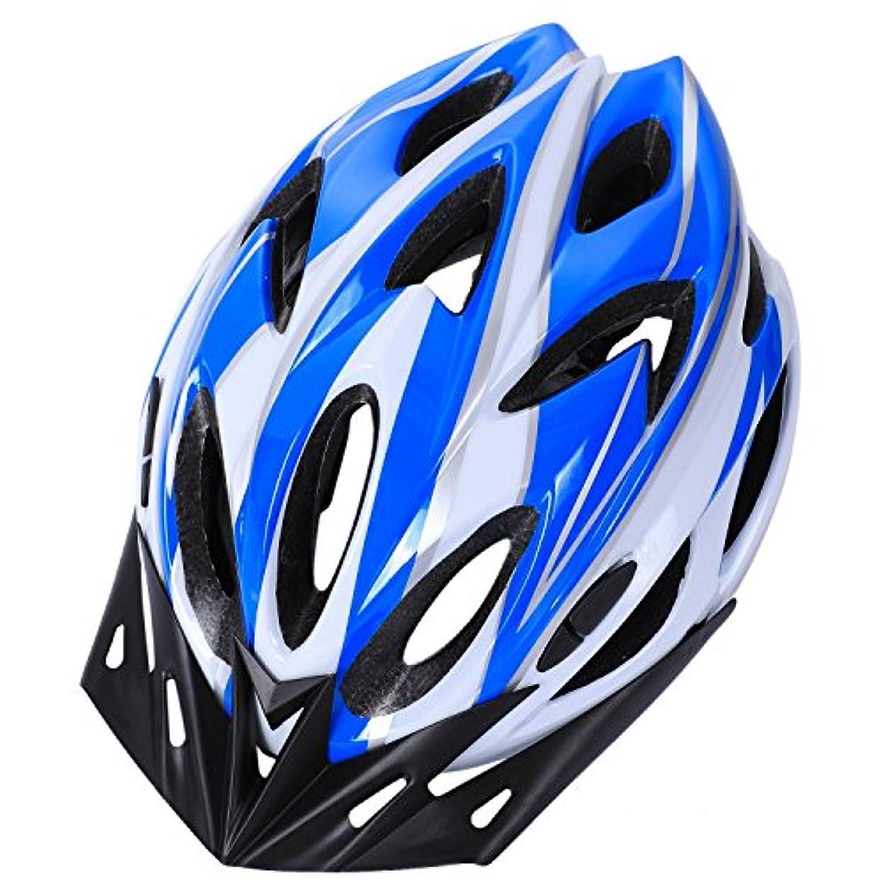 港耐えられない教Semoic 自転車ヘルメットMTBサイクリングアダルトユニセックス安全ヘルメット(青+白)
